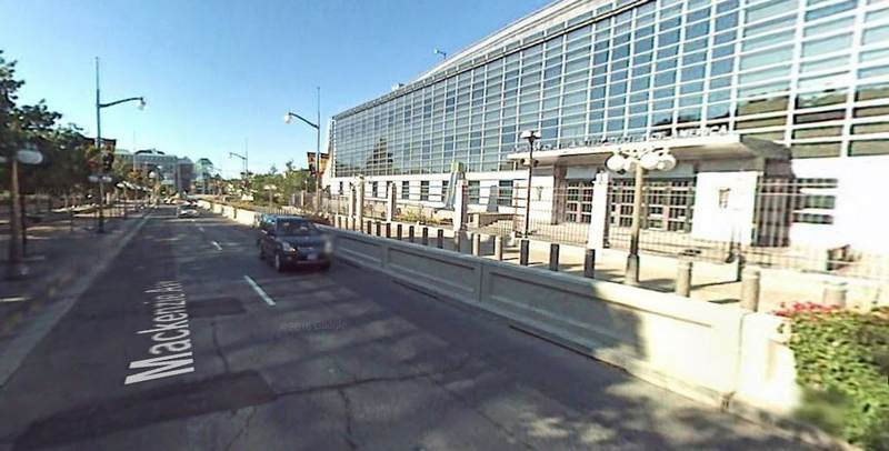 The concrete barrier at Mackenzie Ave at the main entrance, which is hardly being used now.