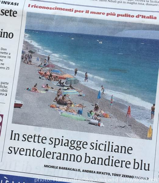 "Sicily's beaches among the most polluted. ""On these Sicilian beaches, the blue flag will fly"" (I'd think red flags make more sense)"