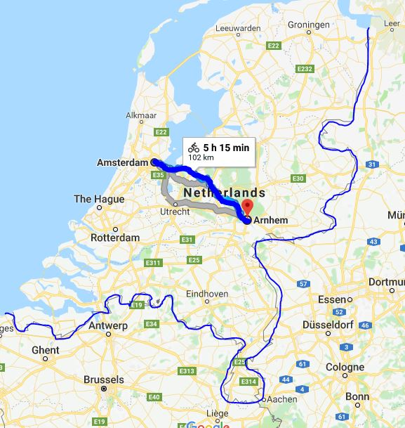 Cycling west - east in Ottawa is equal to the distance Amsterdam - Arnhem in the Netherlands
