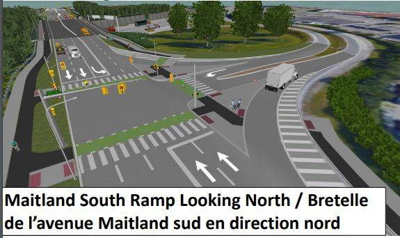 Proposed: Maitland Overpass looking north towards Ottawa river