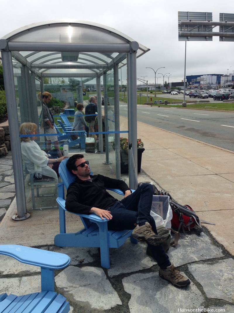 At the airport in Halifax, one can wait for the bus in an Adirondeck chair