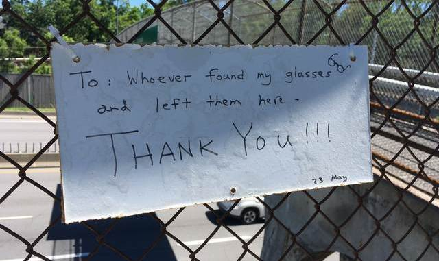 Thank you note on Harmer Ave bridge
