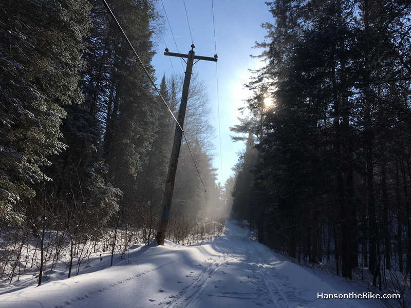 You will cross several ski trails. Be mindful of the tracks.