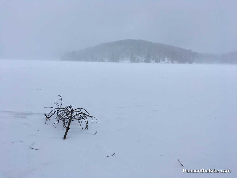 Lac Philippe after it started snowing again. I am not sure if we were walking on the beach or the frozen lake