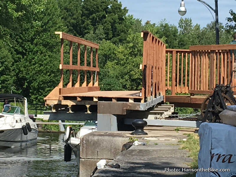 When the lock door is open, you can see how they built the deck on top of the existing lock doors. A series of H bars bolted to the underside of the lock carry the widened deck