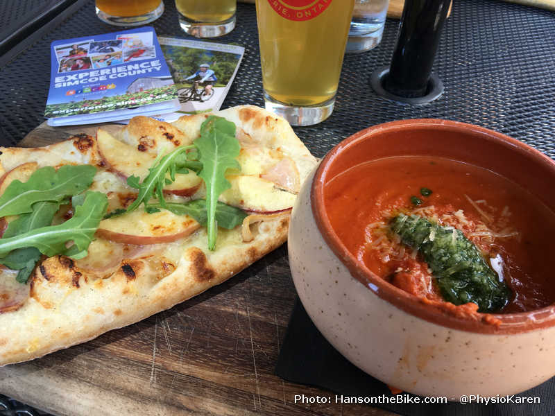 Lunch: pizza and soup and a beer