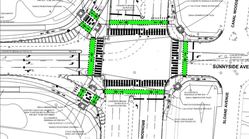 Design for intersection at Bronson and Carleton U