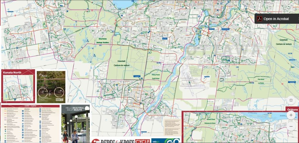 Detailed cycling map of Ottawa