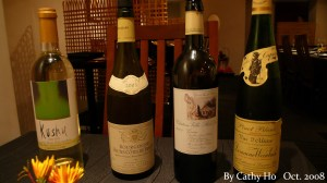 The selections for food & wine pairing