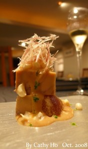 Aichi figs with port flavored foie gras terrine served with sesame cream