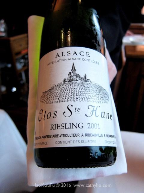 非常優雅具複雜度的2001 Trimbach Clos Ste. Hune 白酒