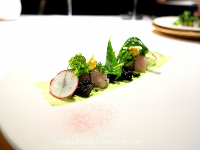 鱒魚生魚片,搭配上春季蔬菜,佐以山椒葉,嘗起來讓人如沐春風