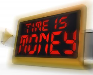 Time Is Money Digital Clock Showing Valuable And Important Resource