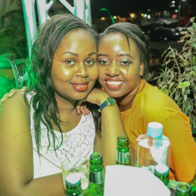 (L-R)Lilian juma and Vivian muthoni pose for a photo during the Neon Tusker Lite Party held at Club Mint Bamburi.