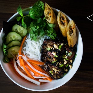 Bun Thit Nuong Cha Gio (Grilled Pork and Spring Rolls with Noodles)