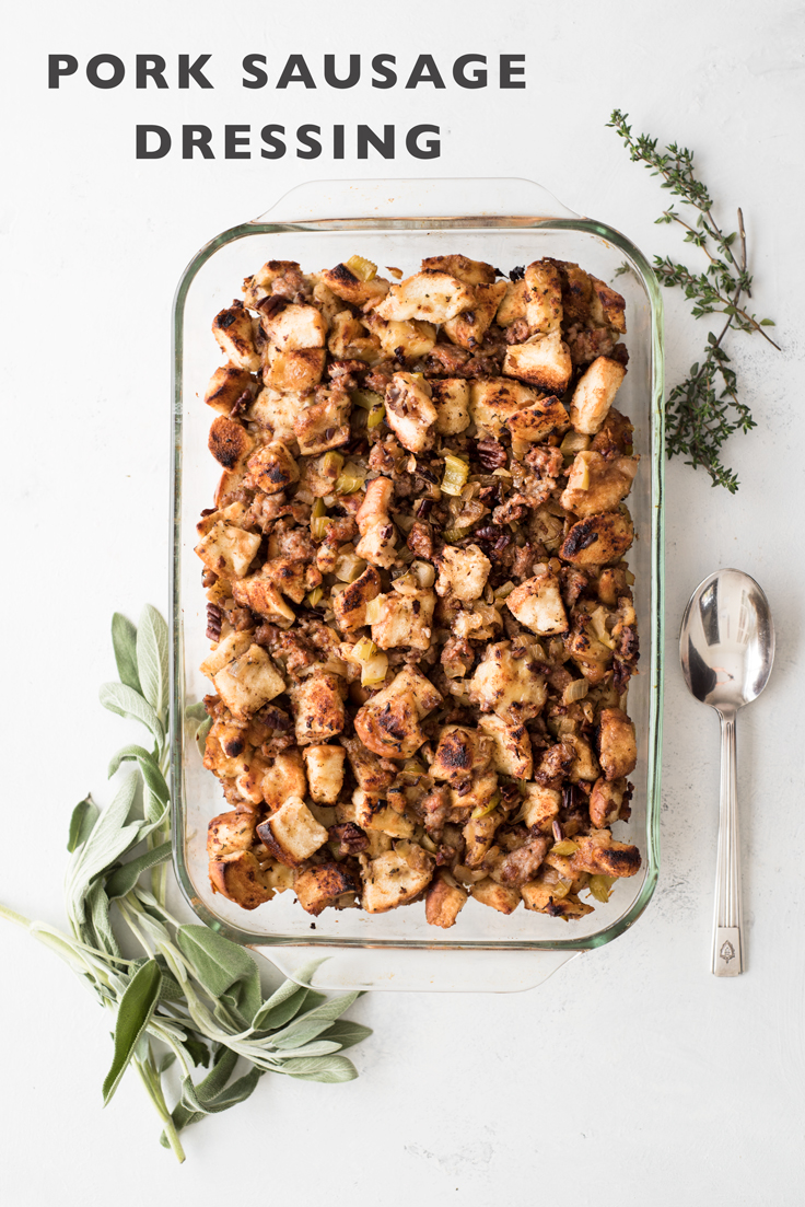 This moist and tender Pork Sausage Dressing is a stand-out dish on any Thanksgiving table!