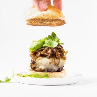 Mini Burgers with Caramelized Onions and Roasted Garlic Butter