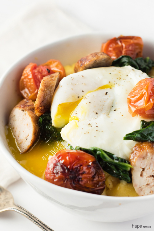 Polenta Breakfast Bowl with Spinach, Roasted Tomatoes, and Turkey Sausage