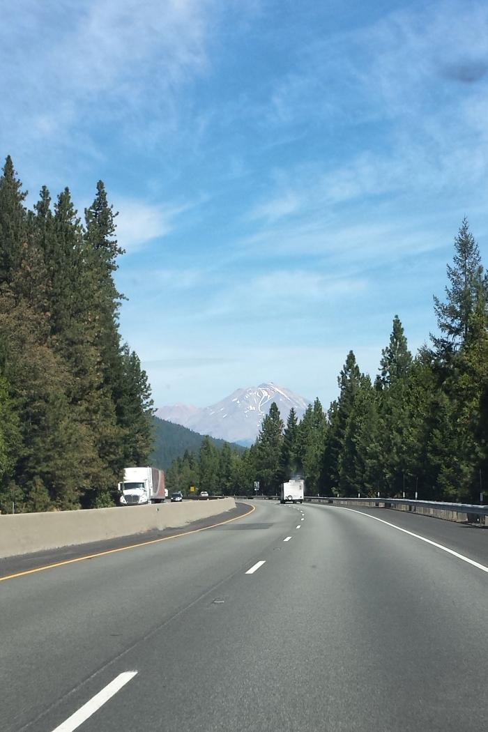 Driving toward Mount Shasta, CA