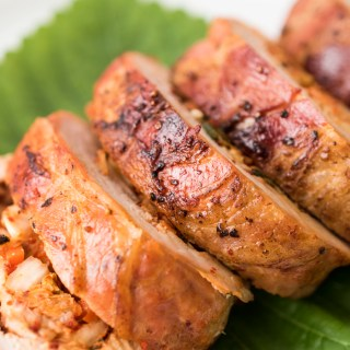 Pancetta-Wrapped Kimchi Pork Roulade - It's like Korean BBQ wrapped into one dish!