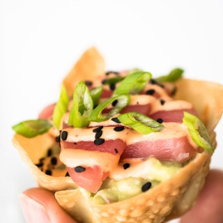 Tuna Sashimi and Avocado Wonton Cups