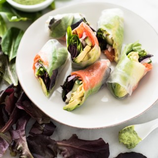 Lox Summer Roll with Avocado-Lime Dipping Sauce