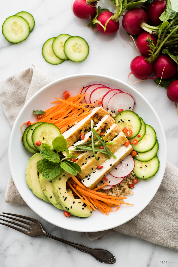 30 minute Asian-Style Tofu Buddha Bowl with a sesame-lime dressing. Vegan friendly, nourishing, and delicious!