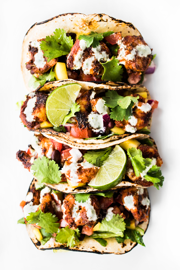 Blackened Shrimp Tacos with Black Bean Mango Salsa and Jalapeño Aioli