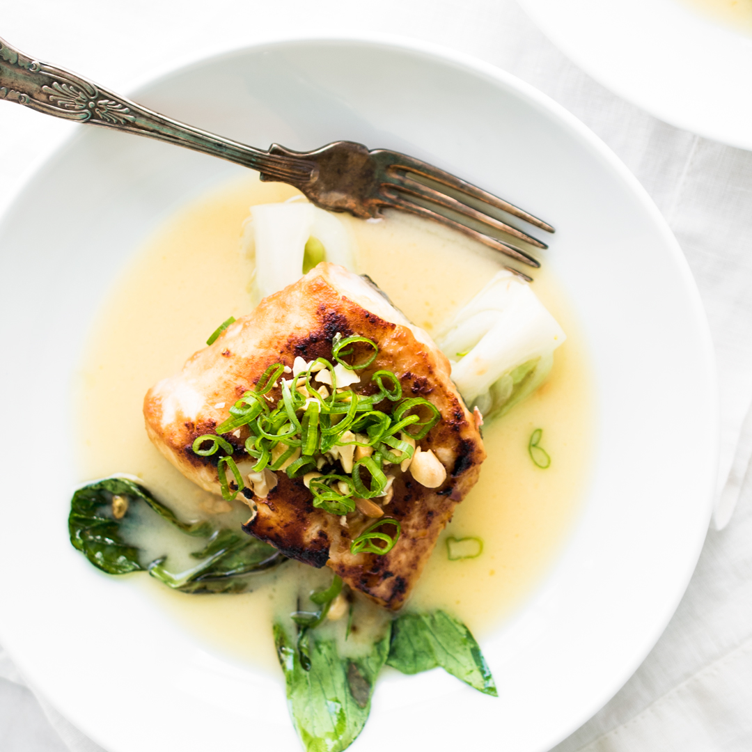 Miso Glazed Halibut with Baby Bok Choy and a Sake Butter Sauce