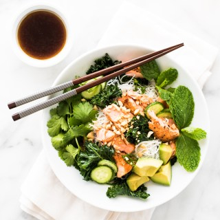 Vermicelli Noodle Bowl with Pan Seared Salmon