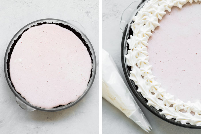 Fun, festive, and SO easy to make! This Candy Cane Ice Cream Pie is a dessert everyone will love and is totally customizable!
