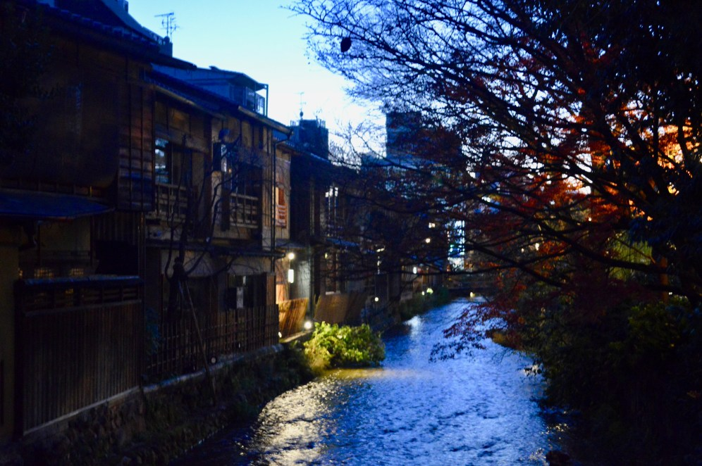 A river runs through the Gion District in northern Kyoto