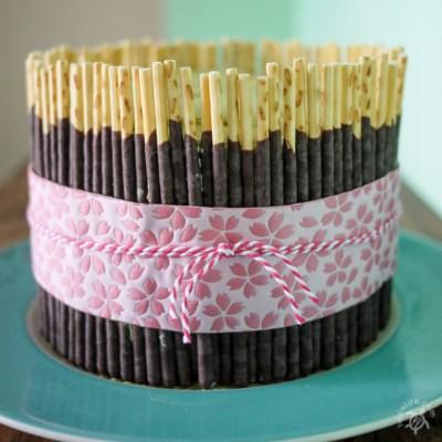 Matcha Pocky Cake with Yuzu Curd Filling