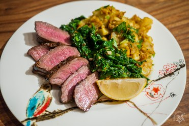 """Seared Venison, """"Creamed"""" spinach, tangy mashed Japanese sweet potatoes"""