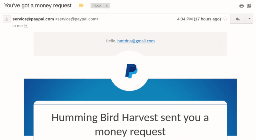 Money request Email from PayPal