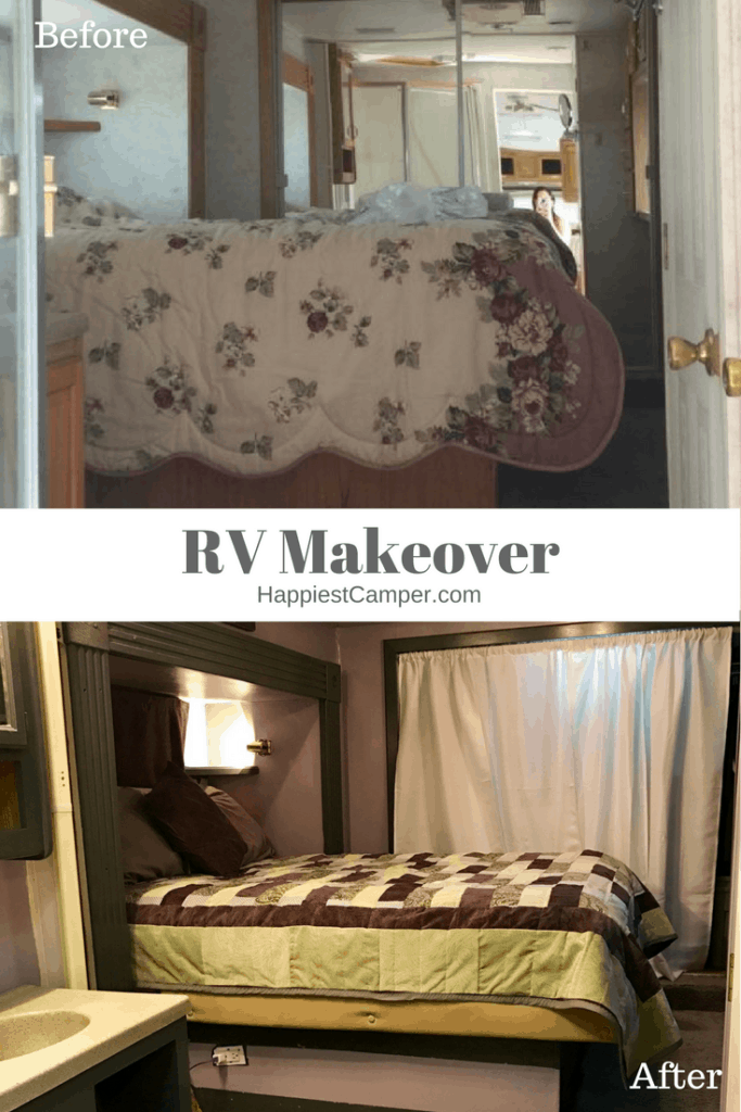 RV Makeover Before After Bedroom