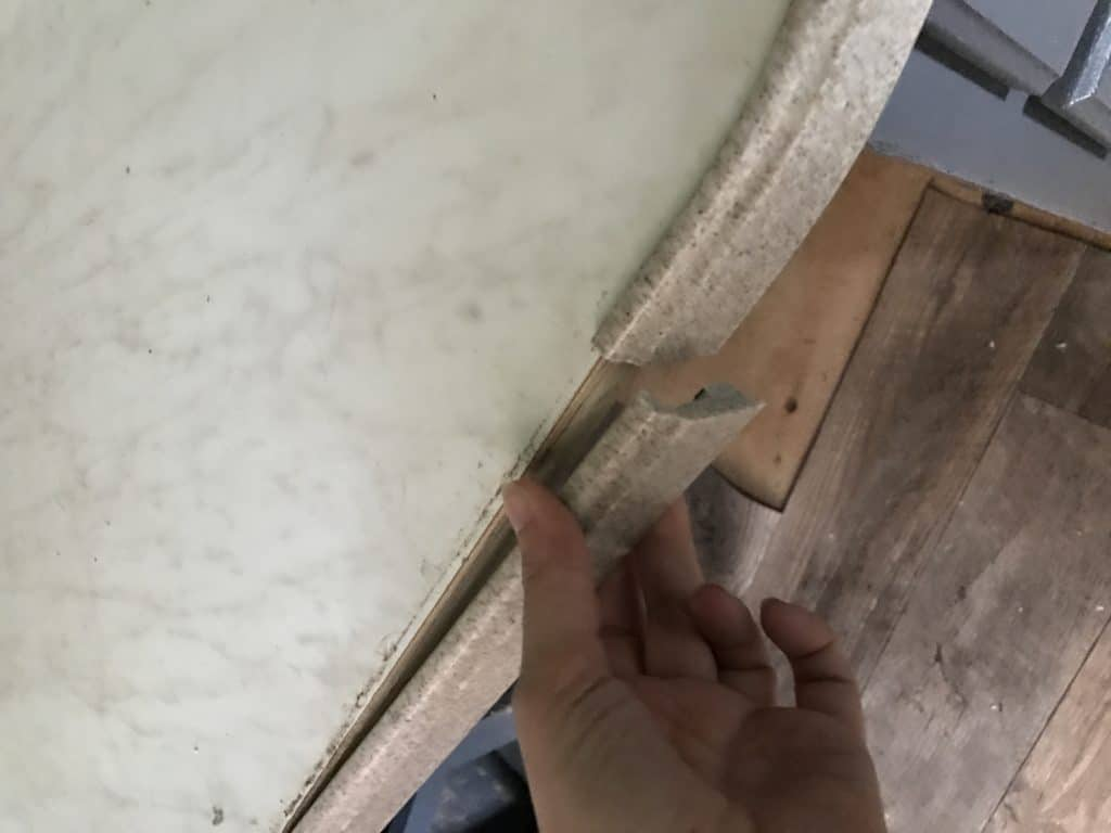 RV Totaled Countertop Damage