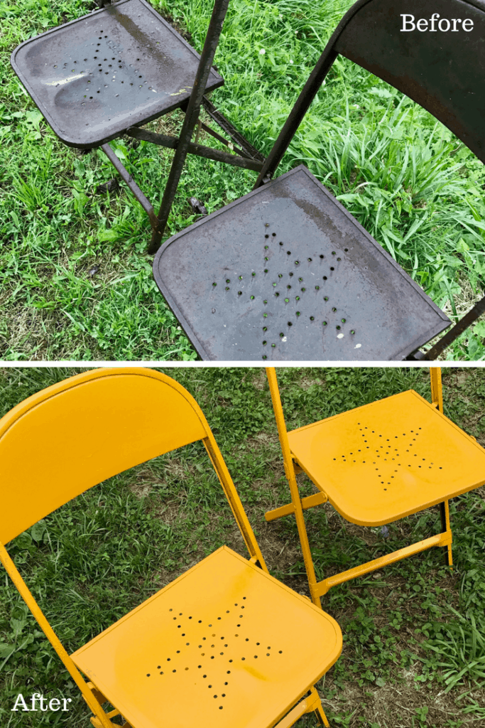 Vintage Star Metal Chair Makeover Before After