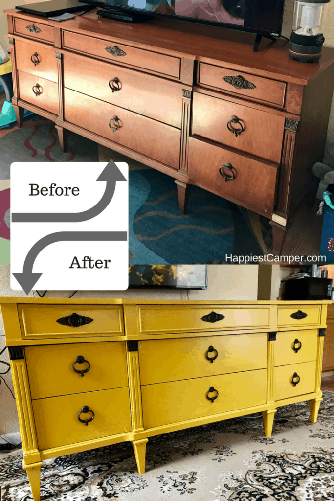 Dresser Makeover Mustard Yellow