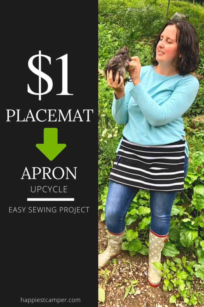 Dollar Store Placemat to Apron Upcycle Easy Sewing Project for Beginner