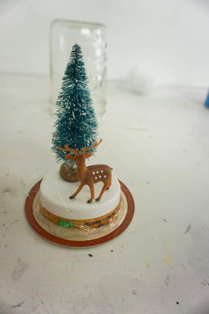 Reindeer Glued on Mason Jar Lid