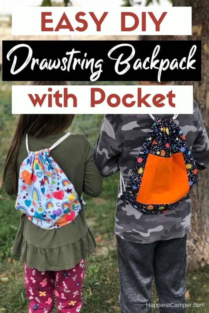 Easy DIY Drawstring Backpack with Pocket