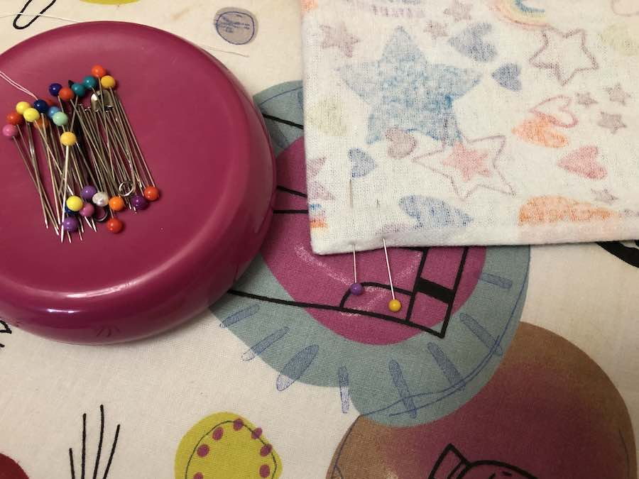 Pinning Ribbon in Drawstring Backpack