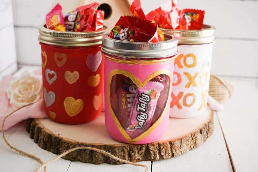 Painted Mason Jar Craft for Valentine's Day