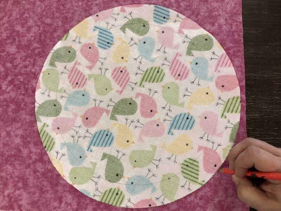 trace circle on laminate fabric