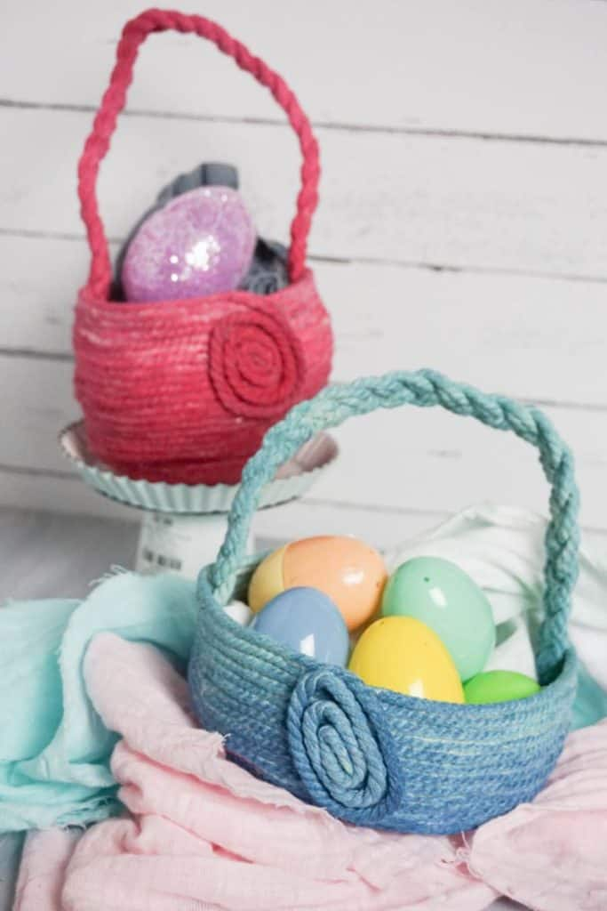 ombre DIY easter baskets completed