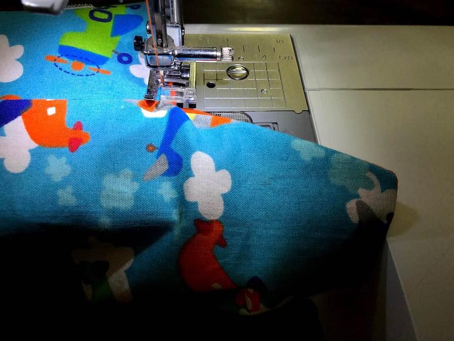 Stitch around flap