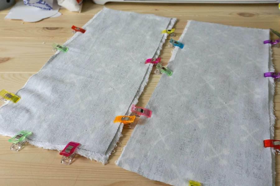 pinning burp cloth fabric