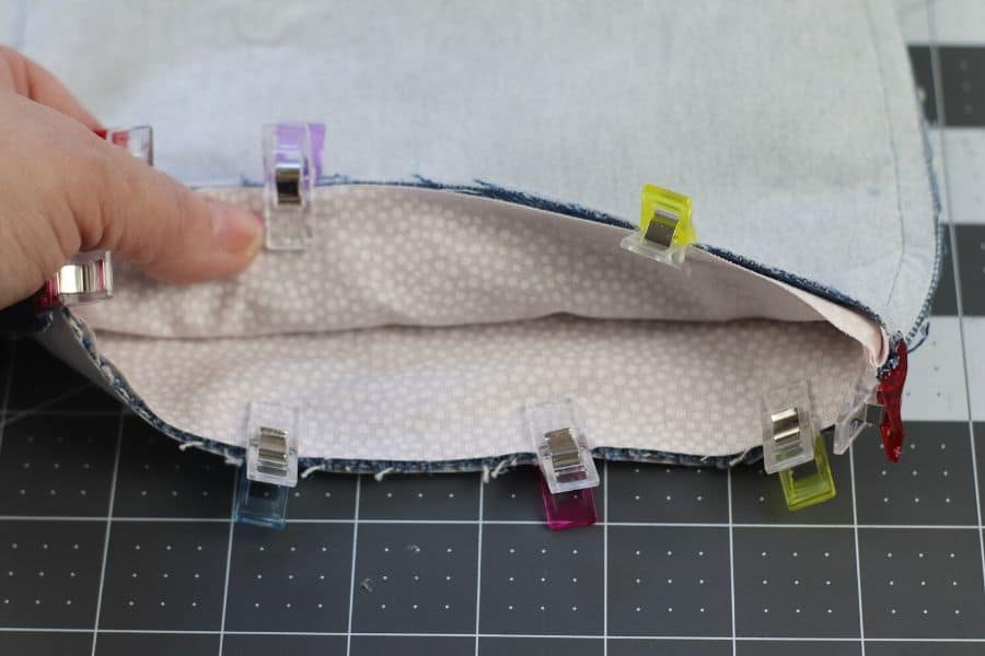 sewing and leaving a hole for the storage bin