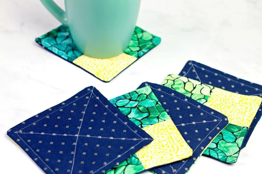 completed fabric coasters